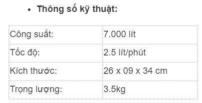 Thông số kỹ thuật máy